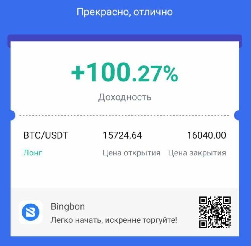 Bingbon - лучшая скопированная сделка за 6 месяцев работы